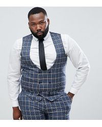 ASOS - Plus Wedding Skinny Suit Waistcoat In Blue And White Check - Lyst