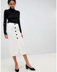 ASOS - Design Midi Skirt With Contrast Buttons - Lyst