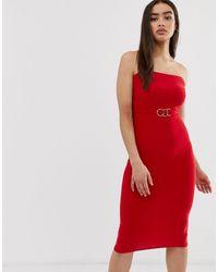 Club L London Club L Bandeau Midi Dress With Gold Trim Belt - Red