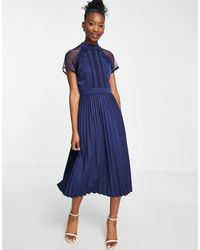 Liquorish A Line Lace Detail Midi Dress With Pleated Skirt - Blue