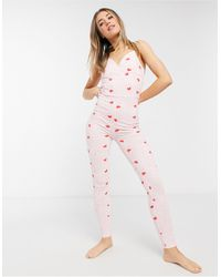 ASOS Mix & Match Tie Dye Heart Pyjama Unitard - Pink