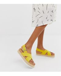Monki Cross Strap Espadrille Flatform In Yellow