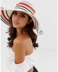 French Connection Stripe Wide Brimmed Boater Straw Hat - Natural