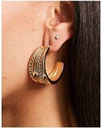 ASOS Hoop Earrings With Twist Row - Metallic