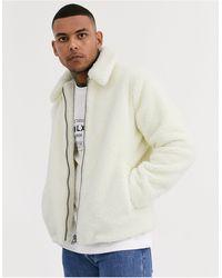 TOPMAN Teddy Fleece Coat - White
