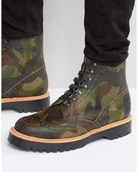 ASOS Brogue Boots In Camo Leather Made In England - Black