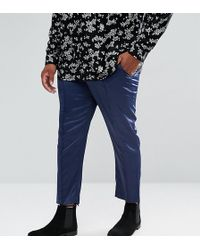 ASOS - Plus Skinny Crop Smart Trousers In Navy Sateen With Piping - Lyst