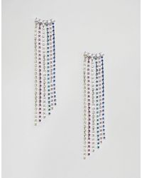 ASOS - Design Earrings With Rainbow Crystal Drop Design In Silver - Lyst