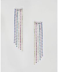 ASOS - Earrings With Rainbow Crystal Drop Design In Silver - Lyst