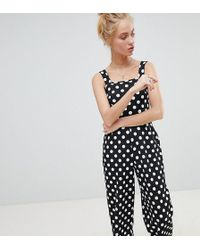 Daisy Street - Cropped Jumpsuit In Polka Dot - Lyst