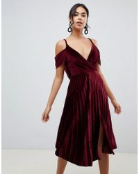 27c2c08d2539 ASOS - Pleated Velvet Cami Midi Dress With Cowl Back Detail - Lyst