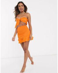 South Beach - Мини-юбка И Топ-бандо В Полоску -оранжевый Цвет - Lyst