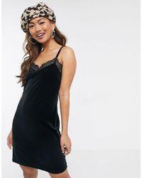 Miss Selfridge Velvet Slip Dress - Black