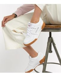 Reebok - Workout Plus White Trainers With Gum Sole - Lyst 229d2eced