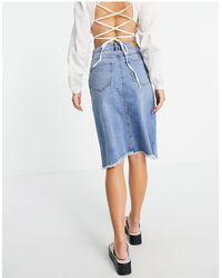 Vero Moda Split Front Midi Denim Skirt - Blue