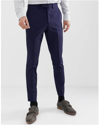 Moss Bros Moss London Muscle Fit Suit Trousers - Blue