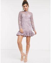 Forever New Лавандовое Платье-мини С Баской -фиолетовый - Многоцветный