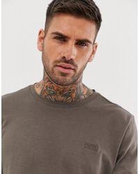 HUGO - Camiseta de manga larga con logo en el pecho en caqui Derol - Lyst