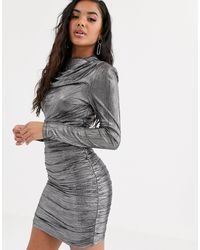 4th & Reckless Ruched Long Sleeve Mini Dress - Metallic