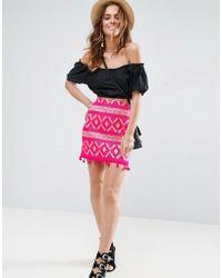 ASOS | Mini Skirt In Jacquard With Pom Pom Hem | Lyst