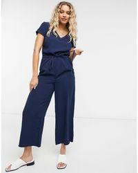 Vila Soft Short-sleeved Jumpsuit - Blue