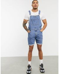 ASOS Denim Dungaree Shorts In Mid Wash - Blue