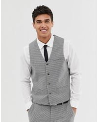 ASOS Super Skinny Suit Waistcoat With Gray Houndstooth