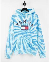 Tommy Hilfiger Голубой Худи В Стиле Тай-дай С Логотипом И Флагом На Груди Из Лимитированной Капсульной Коллекции - Синий