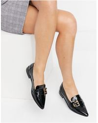 ASOS Mae Pointed Loafers With Buckle - Black