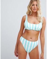 Figleaves Stripe High Leg Bikini Bottom - Blue