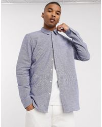 Pull&Bear Grandad Shirt With Vertical Stripe - Blue