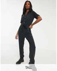 Noisy May Utility Tie Front Jumpsuit - Black