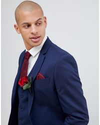 River Island Wedding Skinny Fit Suit Jacket - Blue