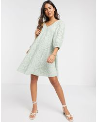 Y.A.S Broderie Mini Smock Dress With Volume Sleeve And V Neck - Blue