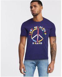 Love Moschino - T-shirt con stampa del logo e simbolo della pace - Lyst