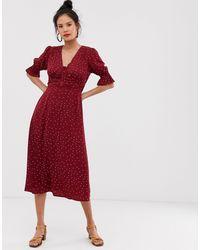 Moon River – Gerafftes Kleid mit Punktemuster - Rot