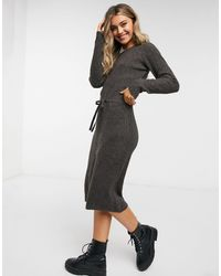 Pieces Knitted Midi Dress With Tie Waist - Brown