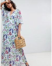 Ghost Kimono Sleeve Printed Maxi Dress - Blue
