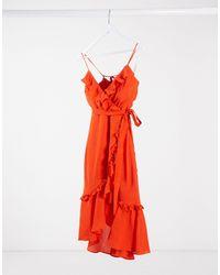Bardot Оранжевое Платье Миди На Бретелях С Оборками -красный