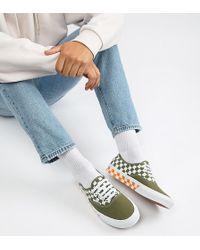 27ec796cd9eb7b Vans - Authentic Checkerboard Plimsolls In Green Exclusive At Asos - Lyst