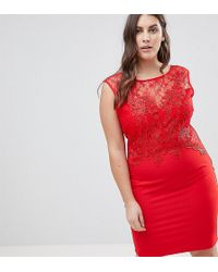 Lipsy Lace Applique Bodycon Dress - Red