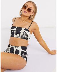 Monki Nilla Recycled Polyester Graphic Print High Waist Bikini Bottoms - Multicolor