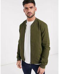 New Look Lightweight Cotton Bomber Jacket - Green