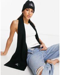 Calvin Klein Подарочный Набор: Шапка-бини И Шарф Черного Цвета -черный