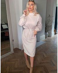 In The Style X Billie Faiers Long Sleeve Sweat Midi Dress With Belt Detail - Natural
