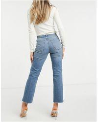 ASOS High Rise Stretch 'effortless' Crop Kick Flare Jeans - Blue