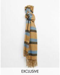 Reclaimed (vintage) Bufanda unisex tipo manta con diseño a rayas - Marrón