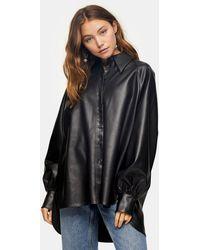 TOPSHOP - Черная Рубашка В Стиле Oversized Из Искусственной Кожи -черный Цвет - Lyst