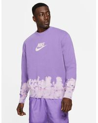 Nike Unity Swoosh Ombre Acid Wash Crew Neck Sweat - Purple