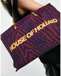 House of Holland Large Logo Printed Tote Bag - Multicolour